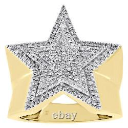 10K Yellow Gold Genuine Diamond Super Star Statement Pinky Ring 22mm Band 1/2 CT