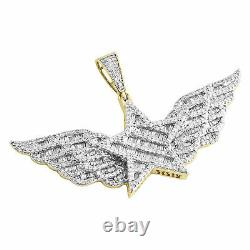 10K Yellow Gold Over Baguette Diamond Super Star Wing Pendant 1.30 Charm 2 CT