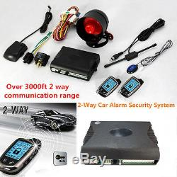 2-Way Car Alarm Security System with 2 Pcs LCD Super Long Distance Controlers Kit