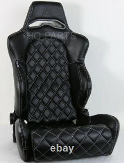 2 X Tanaka Black Pvc Leather Racing Seats Reclinable + Diamond Stitch Fits Vw