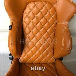 2 X Tanaka Tan Pvc Leather Racing Seats Reclinable + Diamond Stitch Fits Vw