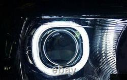 3.0 H1 Bi-Xenon Projector Lens with Square LED Halo Ring Shrouds For Headlights