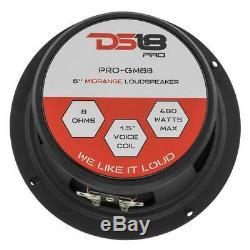 4 DS18 PRO-GM6B 6.5 Car Audio Midrange Speaker 4 PRO-TW120 Pro Super Tweeter