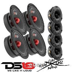 4 DS18 PRO-GM6B 6.5 Midrange Car Speakers 4 PRO-TWX1 Aluminum Super Tweeters