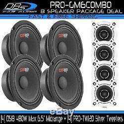 4 DS18 PRO-GM6 6.5 Midrange Car Speakers 4 PRO-TW120 Bullet Super Horn Tweeters