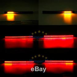 4 Flexible Motorcycle LED Strip 48LED Tail Brake Stop Turn Signal Running Lights