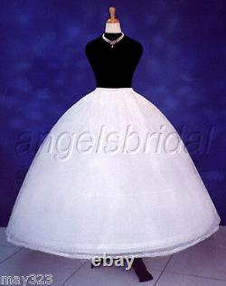 4-Hoop Bone Super Full Bridal Wedding Gown Dress Petticoat Crinoline Skirt Slip
