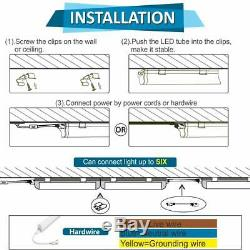 6 PACK 4FT LED Shop Light T5 Linkable 6500K Super Bright Utility Ceiling Fixture
