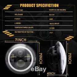 7 Halo LED Headlight + 4'' Fog Lights For Jeep Wrangler White Super Bright