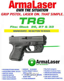 ARMALASER TR6G GLOCK 26, 27 & 33 SUPER-BRIGHT GREEN LASER with GRIP ACTIVATION