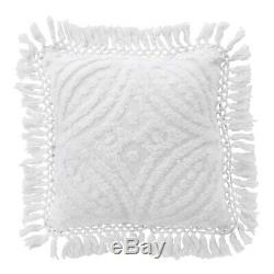 Bianca Savannah Super Soft Cotton Chenille Quilt Covert Set White