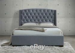 Birlea Balmoral Wing Back Super King Size Bed Frame 6FT 180cm Grey Velvet Fabric