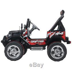 Black 12V Ride On Car Electric Battery Kids Toy Jeep Remote Control 3Speed Music