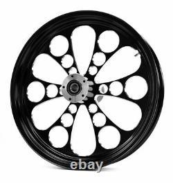 Black Kool Kat 21 3.5 Billet Front Wheel Rim Harley Touring Custom Dual Disc