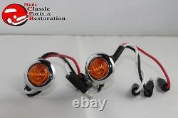 Dual Function Mini Amber Stainless Turn Signal Blinker Lights Truck Hot Rat Rod