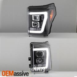 Fits Black 11-16 Ford F-250 F-350 F450 Super Duty Light Bar Projector Headlights