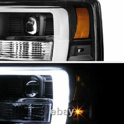 For 08-10 Ford F250 F350 F450 Superduty Black LED DRL Tube Projector Headlight