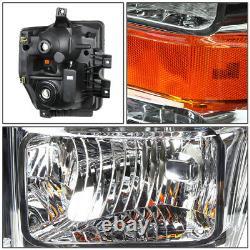 For 08-10 Ford F250 F350 Super Duty Chrome Housing Amber Corner Headlight Lamps