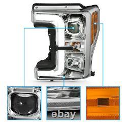 For 17-19 Ford Super Duty F-250/350 XL XLT Chrome LED Bar Projector Headlights