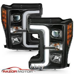 For 17-19 Ford Super Duty F-250 F-350 XL XLT Black LED Bar Projector Headlights