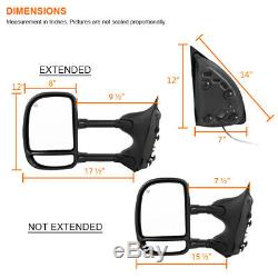 For 1999-2007 Ford F250 F350 Super Duty Power+Heated Side Tow Mirrors Left+Right