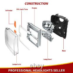 For 2005-2007 Ford F350 F450 F550 Super duty LED DRL BAR Headlights HeadLamps