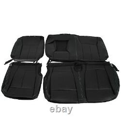 For 2015-2021 Ford F150 Super Crew Cab Front Rear Seat Covers Full Set Black