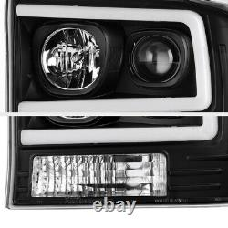 For 99-04 Ford F250 F350 SuperDuty Neon Tube LED DRL Black Projector Headlight