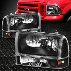 For 99-04 Ford F250 F350 Super Duty Black Housing Amber Corner Headlight Lamps
