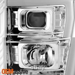For Chrome 11-16 Ford F-250 F-350 F450 Super Duty Light Bar Projector Headlights