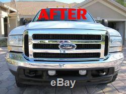 Ford 05 06 07 Chrome Grille, Conversion Fits 1999-2004 Super Duty F250 F350 F450