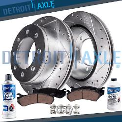 Front Drilled Rotor & Pad Ford F-250 F-350 SD 4x4 4WD Brake Rotors +Brakes Pads