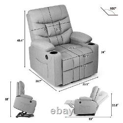 Full Auto Electric Power Lift Massage Heat Recliner Chair USB Vibration Control