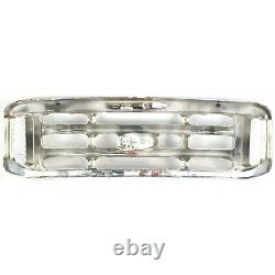Grille For 99-2004 Ford F-250 Super Duty F-350 Super Duty Chrome Plastic