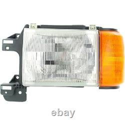 Headlight Set For 87-91 F-150 88-91 F Super Duty Left & Right With Side Marker