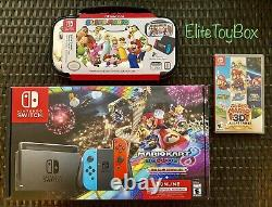 Nintendo Switch 32GB Console Joy Con MarioKart Super Mario 3D Game Case Bundle
