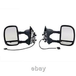 Pair For 1999-07 Ford F250 Super Duty Power Towing Telescoping Duty Side Mirrors