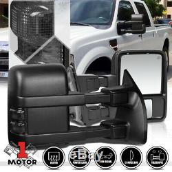 Pair Power+Heated LED Signal Towing Side Mirror for 99-07 Ford F250 Super Duty