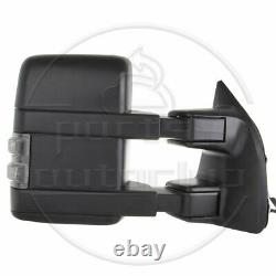 Pair Set For 99-16 F250-F550 Super Duty Manual Tow Led Signal Light Side Mirrors