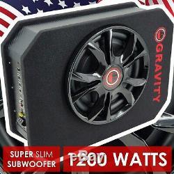 Ported 1200w 12 CAR AUDIO UNDER SEAT SUPER SLIM POWERED SUBWOOFER ENCLOSURE SUB