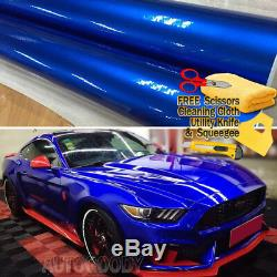 Premium Super Gloss Metallic Blue Vinyl Film Wrap Sticker Decal Air Bubble Free