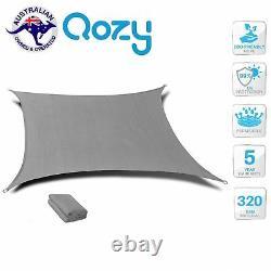 Qozy SUPER Extra Heavy Duty Sun Shade Sail 320gsm Square Rectangle Triangle Grey