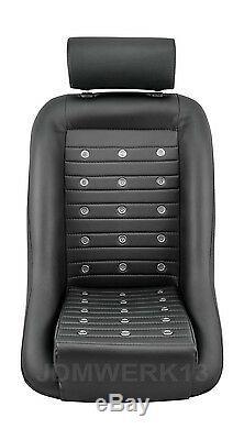 Retro Classic Vintage Racing Bucket Seat Seats All Black Pvc W Sliders (pair)