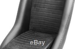 Retro Classic Vintage Racing Bucket Seats Black Microsuede W Sliders (pair)