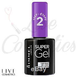 Rimmel London Super Gel Top Coat Nail Polish, Step 2 Transparent, 12 ml