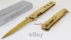 TAC-FORCE Super Knife Gold Godfather Stiletto Spring Open Assisted Pocket