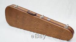 Teardrop Alligator Brown Guitar Case with Leopard Super Soft Plush