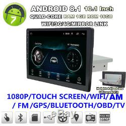 10.1android 8.1 Simple Din Stereo Radio Wifi 3g 4g Lecteur Bt Voiture Gps