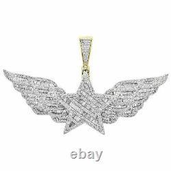 10k Or Jaune Finition Baguette Diamond Super Star Pendentif Aile 1,30 Charm 2 Ct