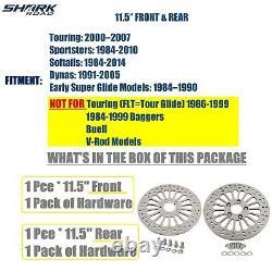 11.5 Rotors De Frein 1 À L'avant Et 1 À L'arrière Super Spoke Ss Disc Pour Harley Touring